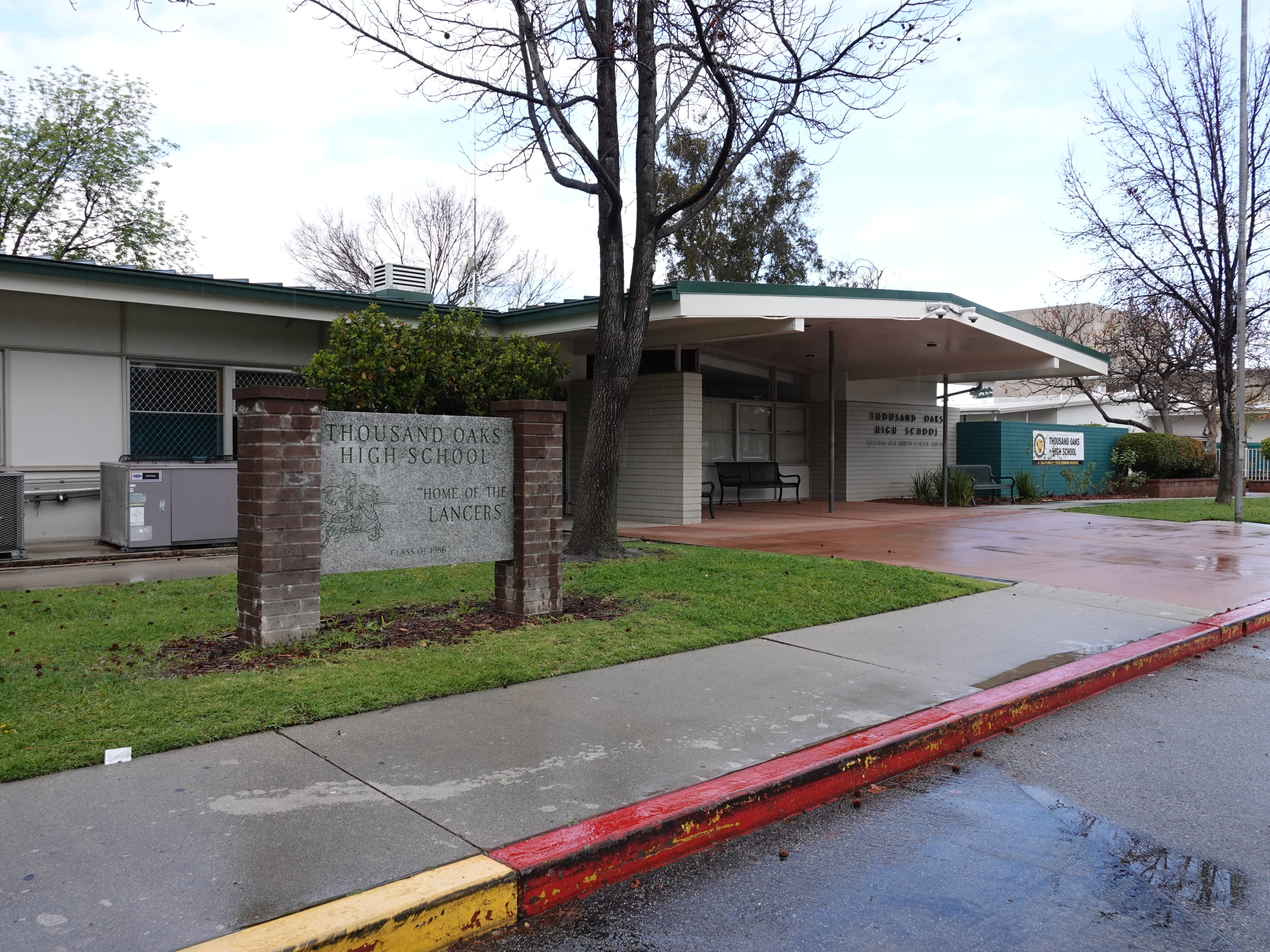 The front entrance to Thousand Oaks High School on Moorpark Road is shown Saturday morning.