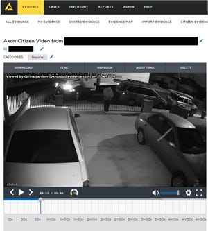 This is a screenshot of video evidence submitted to Oxnard police using Axon Citizen.