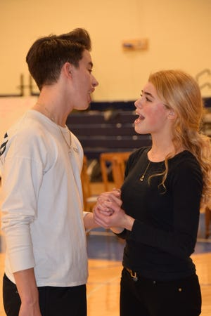 "Dom Vargo as Ren McCormack and Heather Raguckas as Ariel Moore rehearse a scene from the TECnical Players of CCTEC's production of ""Footloose,"" which opens Feb. 15."