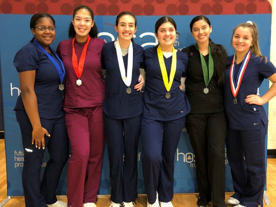 CCTEC Nursing Assisting competitors (from left) Briana Pettus, Maris Jones, Jamie Ross, Georgianna Trishcitta, Juliana Espinoza and Julia Piekielko competed successfully in a HOSA event held on Feb. 2.