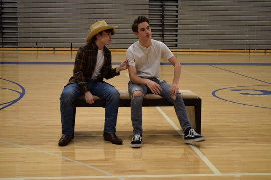 "Caleb Jones (left) as Willard Hewitt and Dom Vargo as Ren McCormack rehearse a scene from the TECnical Players of CCTEC's production of ""Footloose,"" which opens Feb. 15."