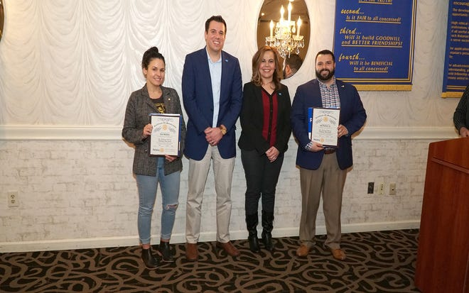 Rotary Club of Vineland recently inducted South Jersey Motor Trends and SNJ Today as its first corporate members. (From left) Tara Martinez of South Jersey Motor Trends, and John Salvatore, Yamira Velez and Ken Pustizzi Jr. from SNJ Today, attended the installation ceremony.