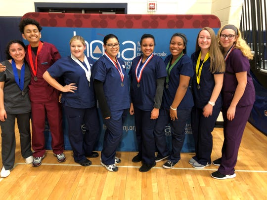CCTEC Home Health Aide competitors Jennifer Ocampo, Jorge Rodriguez, Brianna Brown, Jacelyne Caban, Armani Bunton, Nyleah Brown, Kassidy Buirch and Melissa Rodgers competed successfully in a HOSA event held on Feb. 2.