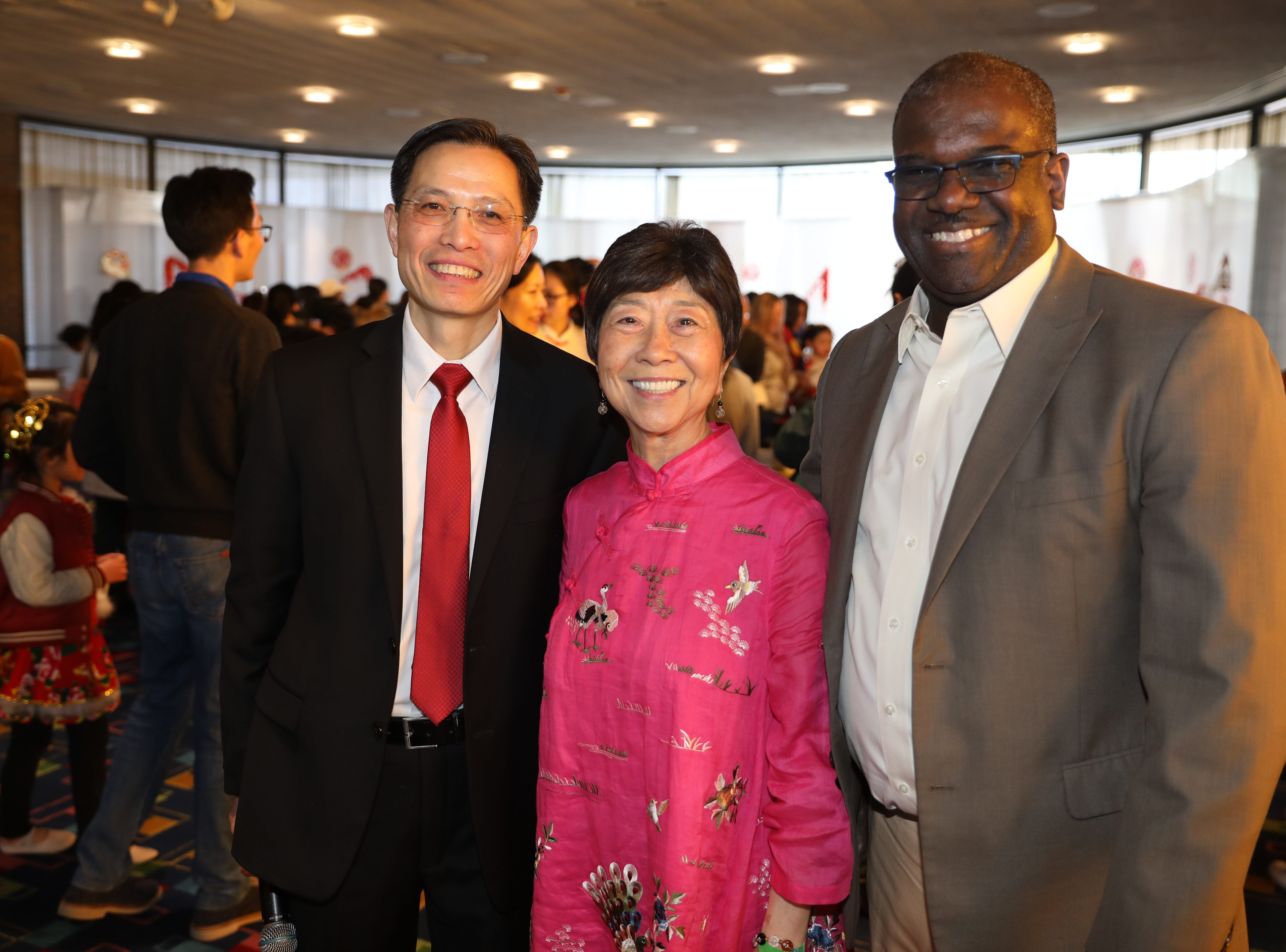 Kevin Ding, the president of WACA (Westchester Association of Chinese Americans), Rose Tan Kaung, the Vice President of Public Relations and Ken Jenkins, the Westchester County Deputy County Executive, are pictured during the 30th Chinese New Year Festival, the Year of the Pig, sponsored by WACA, at The Performing Arts Center at Purchase College SUNY, Feb. 9, 2019.