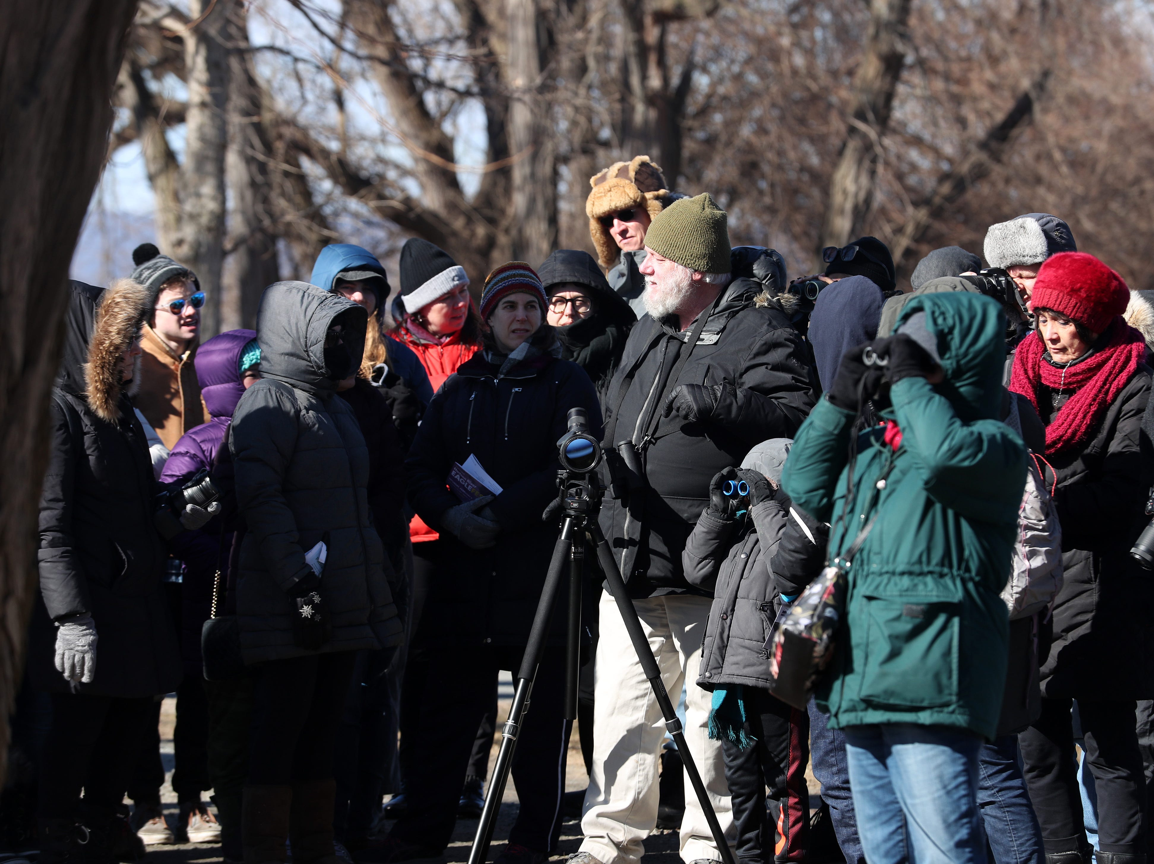 Participants brave the cold and high winds as they go for a bird walk along the Hudson River during the annual Hudson River Eaglefest at Croton Point Park Feb. 9,  2019.