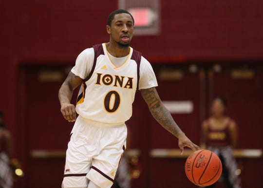Iona guard Rickey McGill (0) sets up a play during mens basketball game at the Hynes Athletic Center on the campus of Iona College in New Rochelle on Friday, February 8, 2019.