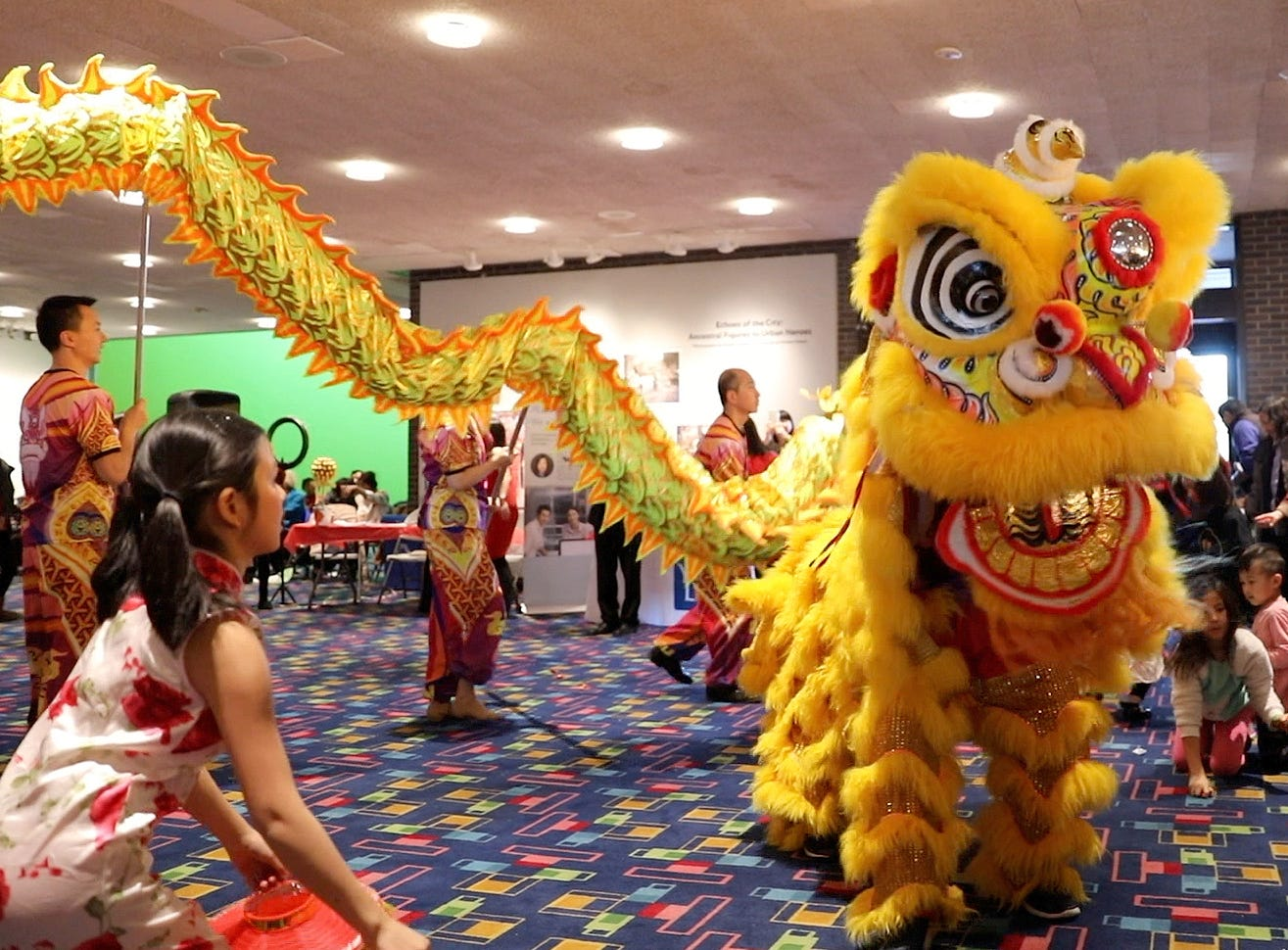 The Lion Dance makes it's way through the crowd, during the 30th Chinese New Year Festival, the Year of the Pig, sponsored by WACA (Westchester Association of Chinese Americans), at The Performing Arts Center at Purchase College SUNY, Feb. 9, 2019.