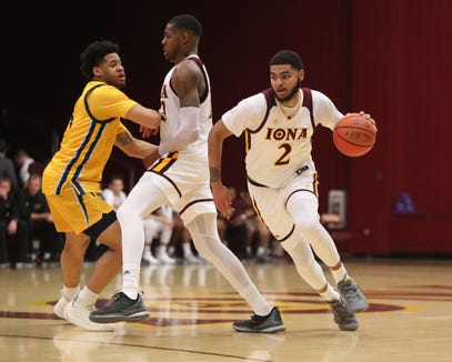Iona forward E.J. Crawford (2) works off a pick during mens basketball game at the Hynes Athletic Center on the campus of  Iona College in New Rochelle on Friday, February 8, 2019.