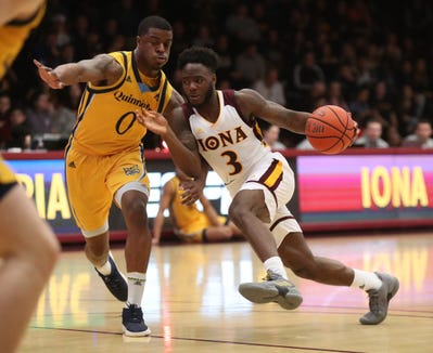 Iona guard Asante Gist (3) works against Quinnipiac guard Aaron Robinson (0) during mens basketball game at the Hynes Athletic Center on the campus of  Iona College in New Rochelle on Friday, February 8, 2019.