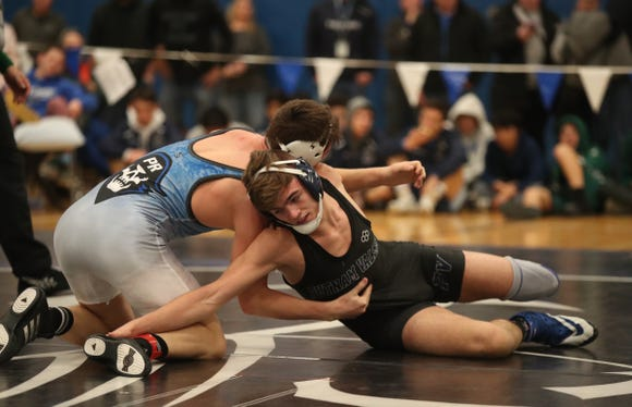 Putnam Valley's Dean Appell defeats Pearl River's Volodymyr Sidorenko in the 152-pound match of the division II wrestling finals at Edgemont High School on Saturday, February 9, 2019.