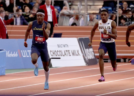 Jaheim Jones of Our Lady of Lourdes, left, finished in fourth place in the Junior Boys 60 meter race during the 2019 Millrose Games at the New Balance Armory in Manhattan Feb. 9, 2019. His finish of 6.83 seconds was a personal best.