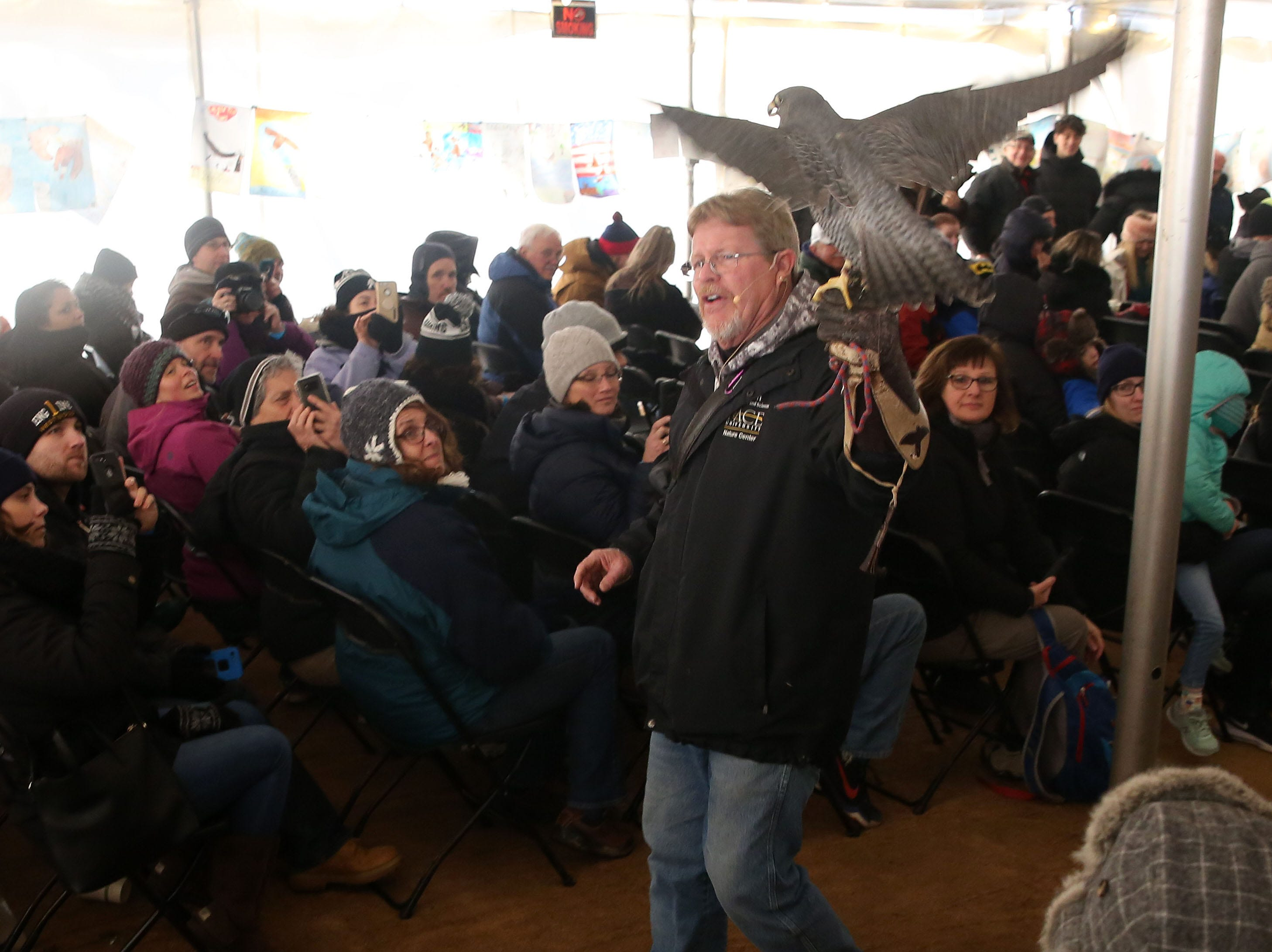 Master Falconer James Eyring talks about one his falcons during the annual Hudson River Eaglefest at Croton Point Park Feb. 9,  2019.