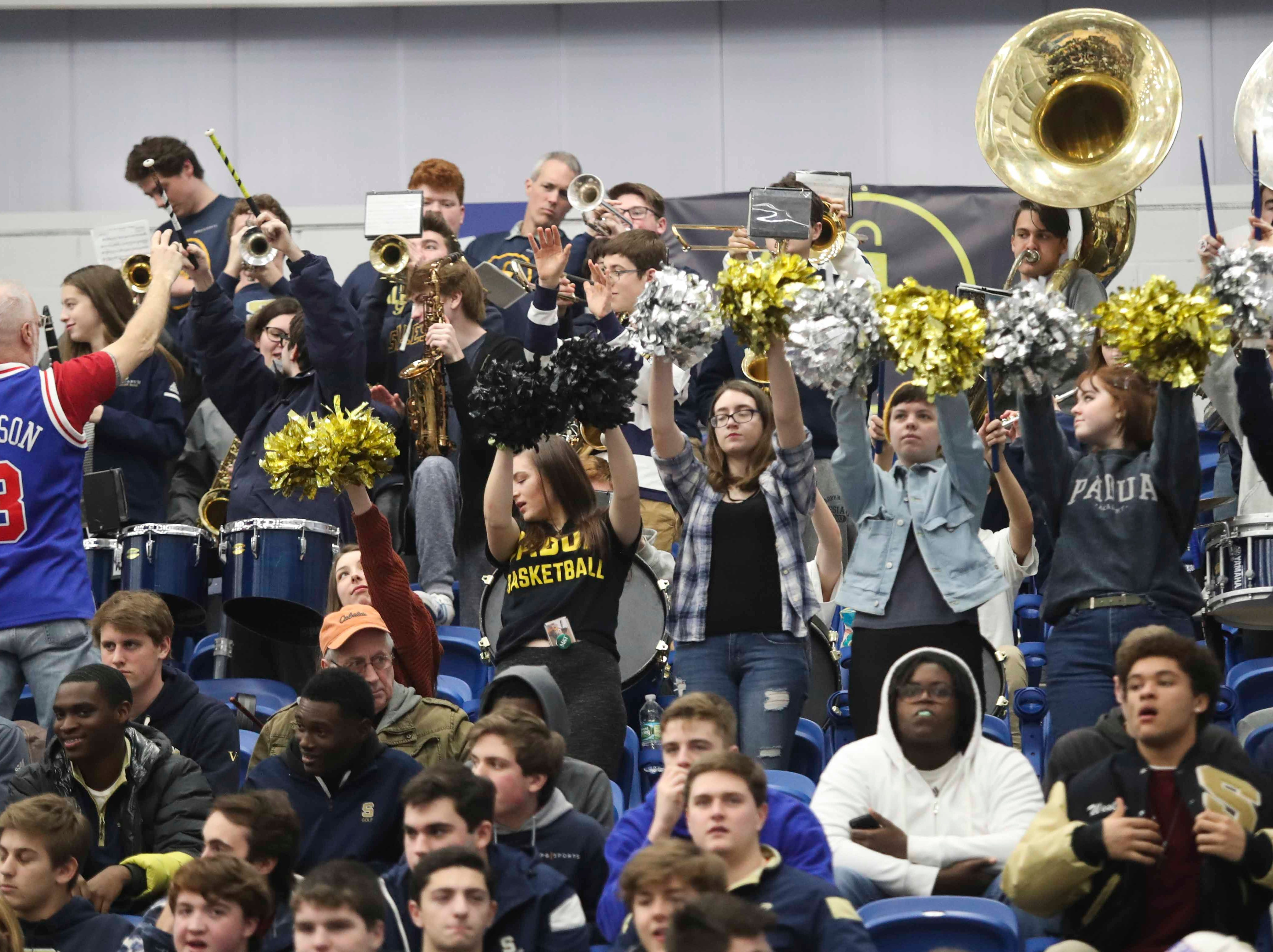The Salesianum band plays in St. Mark's 47-38 win in the SL24 Memorial Basketball Classic at the 76ers Fieldhouse in Wilmington Friday.