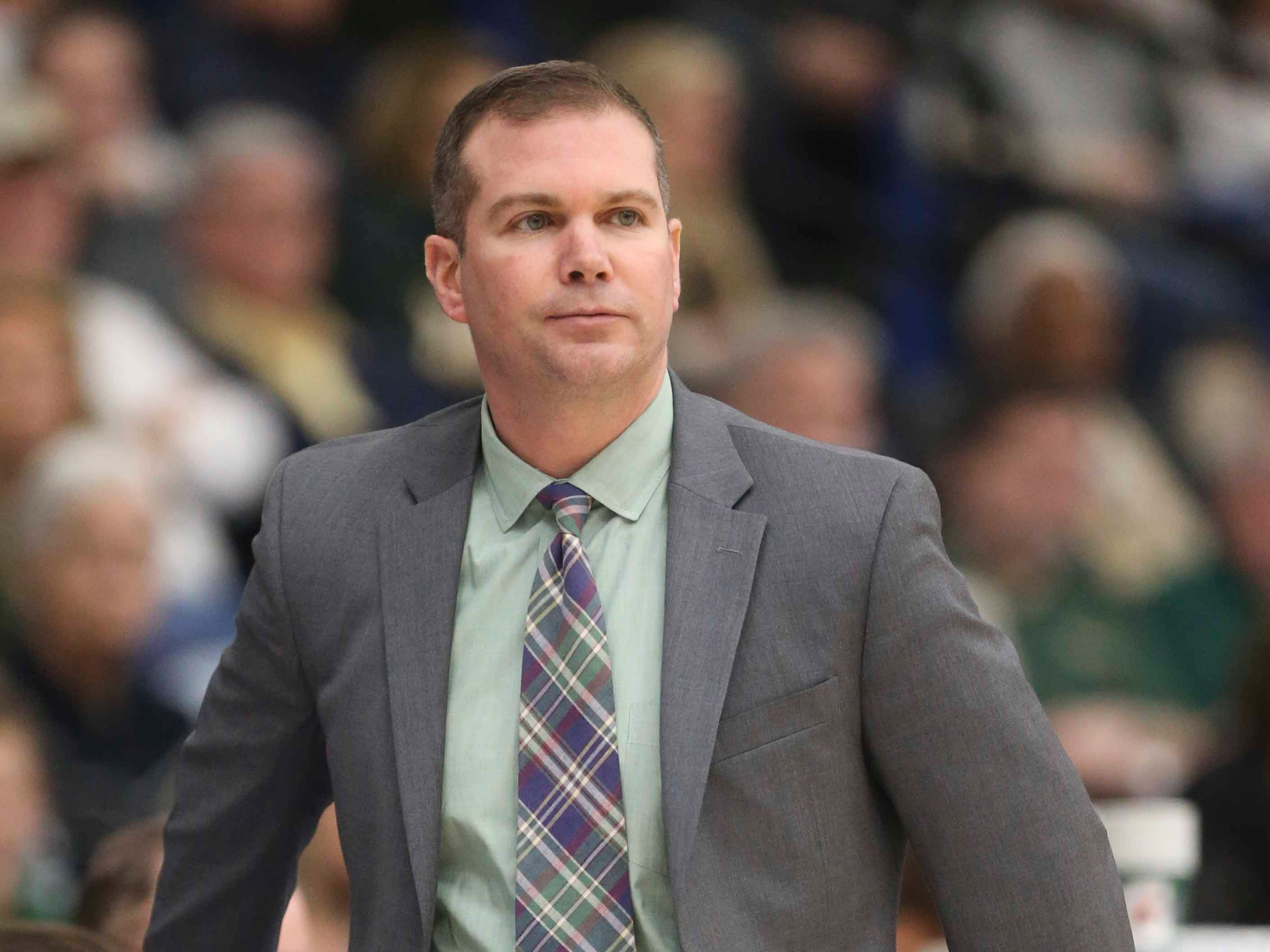 St. Mark's head coach Nicholas Sanna works in the SL24 Memorial Basketball Classic at the 76ers Fieldhouse in Wilmington Friday.