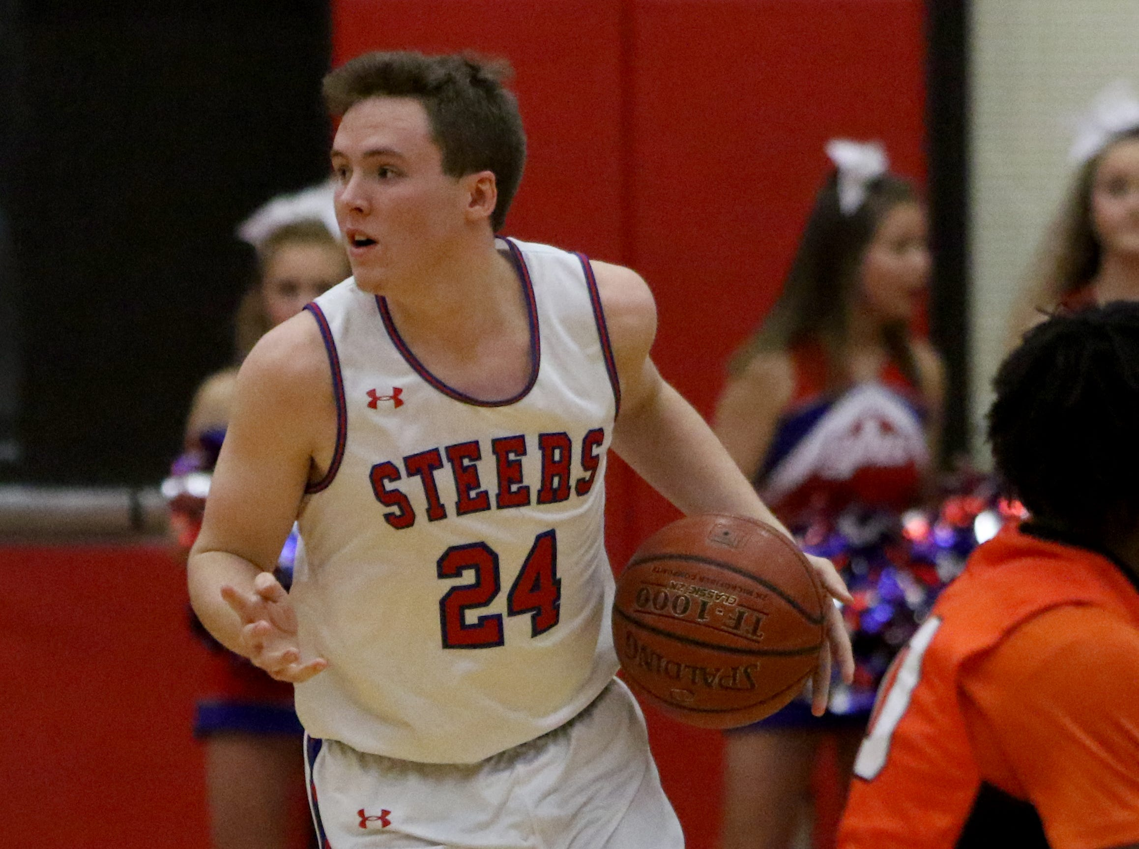 Graham's Marcus Brooks looks to the sideline in the game against Burkburnett Friday, Feb. 8, 2019, in Graham. The Steers defeated the Bulldogs 75-70.