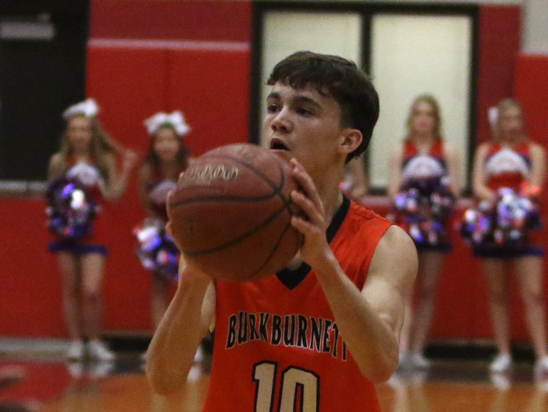 Burkburnett's Andrew Hawkins looks to the basket in the game against Graham Friday, Feb. 8, 2019, in Graham. The Steers defeated the Bulldogs 75-70.