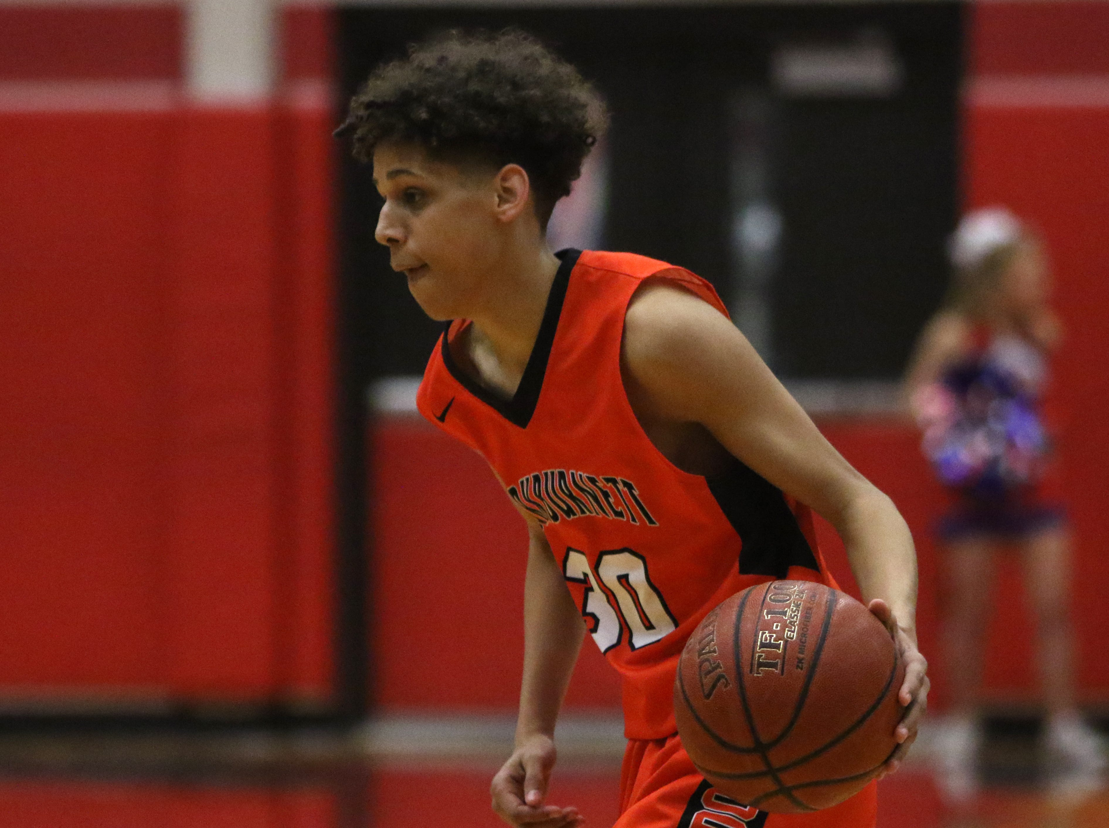 Burkburnett's Zach Prejean dribbles in the game against Graham Friday, Feb. 8, 2019, in Graham. The Steers defeated the Bulldogs 75-70.