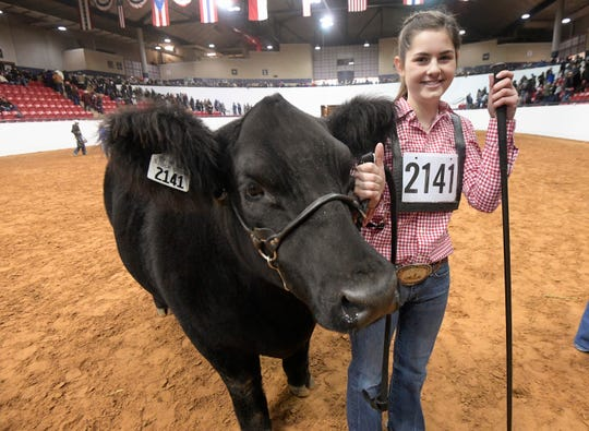 Saige Martin stands with her Reserve Grand Champion steer King during the Fort Worth Stock Show at Will Rogers Memorial Center in Fort Worth, Texas, Friday, Feb. 8, 2019.