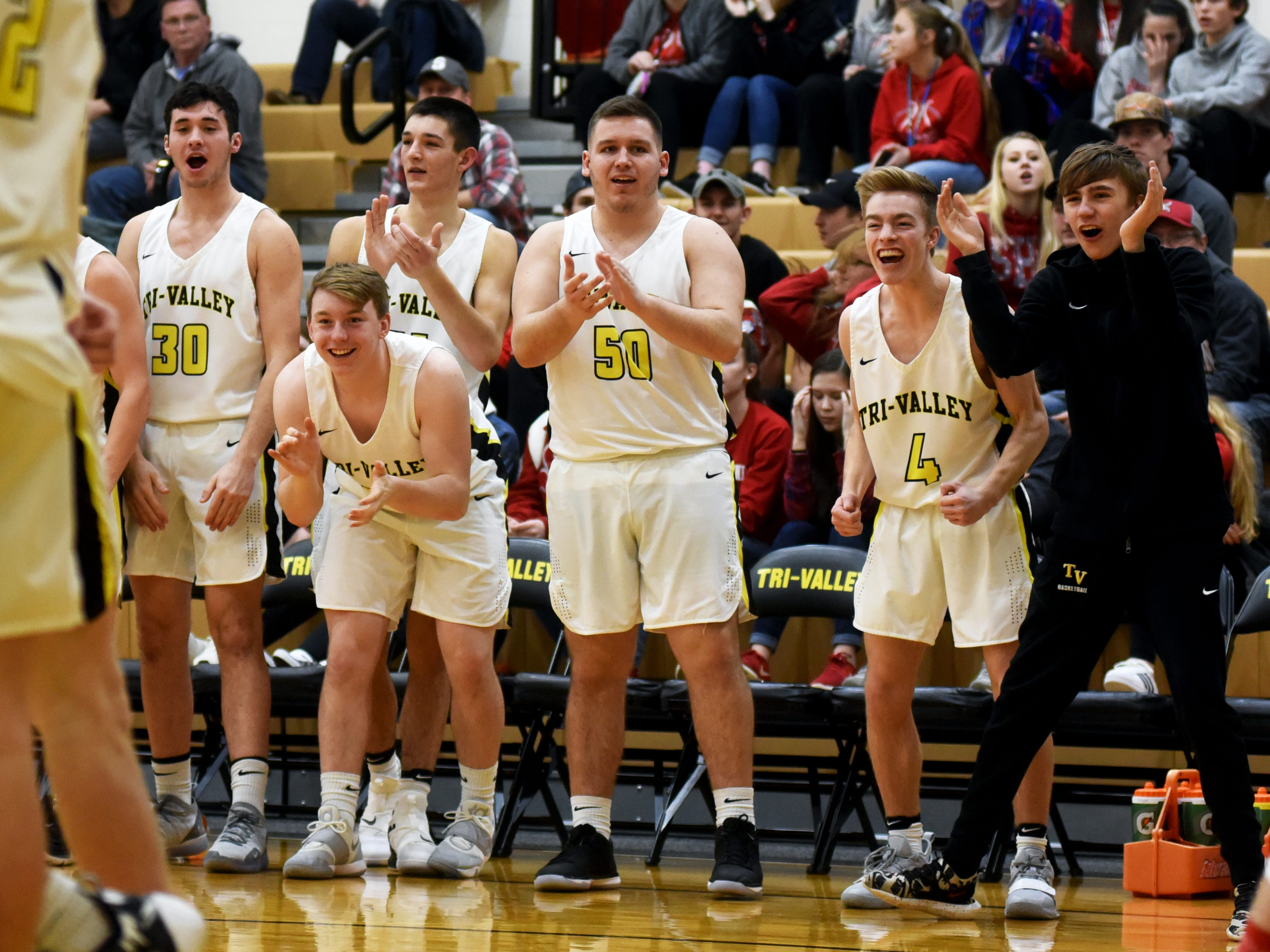 Tri-Valley's bench gets wound up after Ty Smith converts an off-balanced layup on Friday night in Dresden.