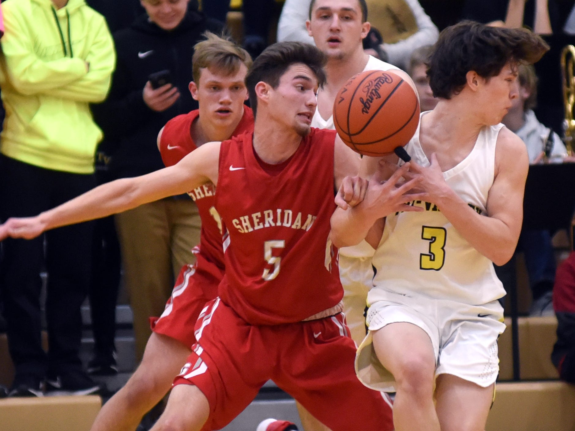 Sheridan's Costa Coconis, left, and Tri-Valley's Matt King get tangled up going for a loose ball on Friday night in Dresden.