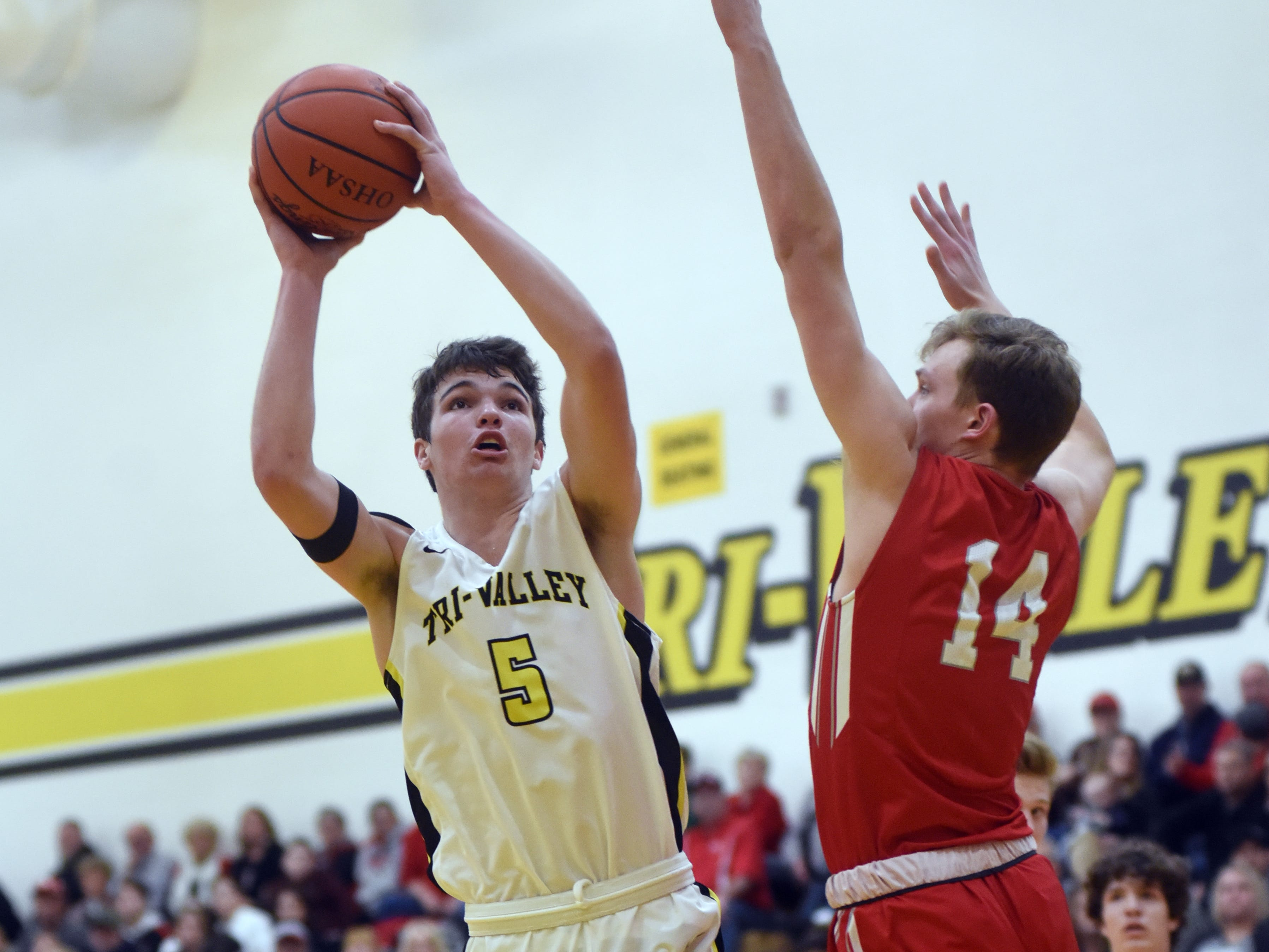 Keaton Williams, of Tri-Valley, shoots over Sheridan's Ethan Malone on Friday night in Dresden.