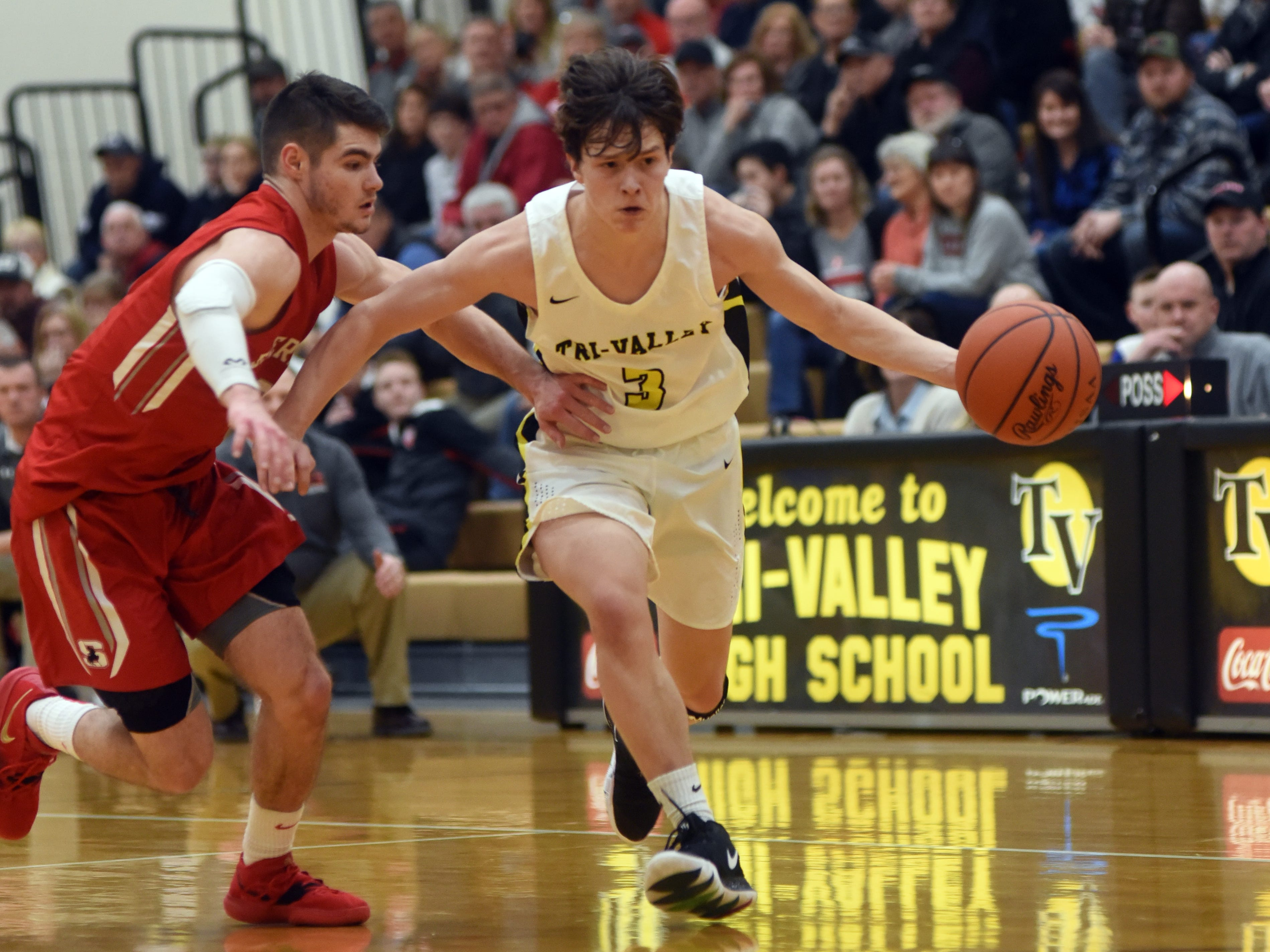 Tri-Valley's Matt King dribbles up court while being guarded by Sheridan's Ethan Heller on Friday night in Dresden.