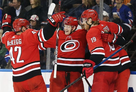 Carolina Hurricanes left wing Warren Foegele (13) celebrates with teammates after scoring the game-winning goal against the New York Rangers.