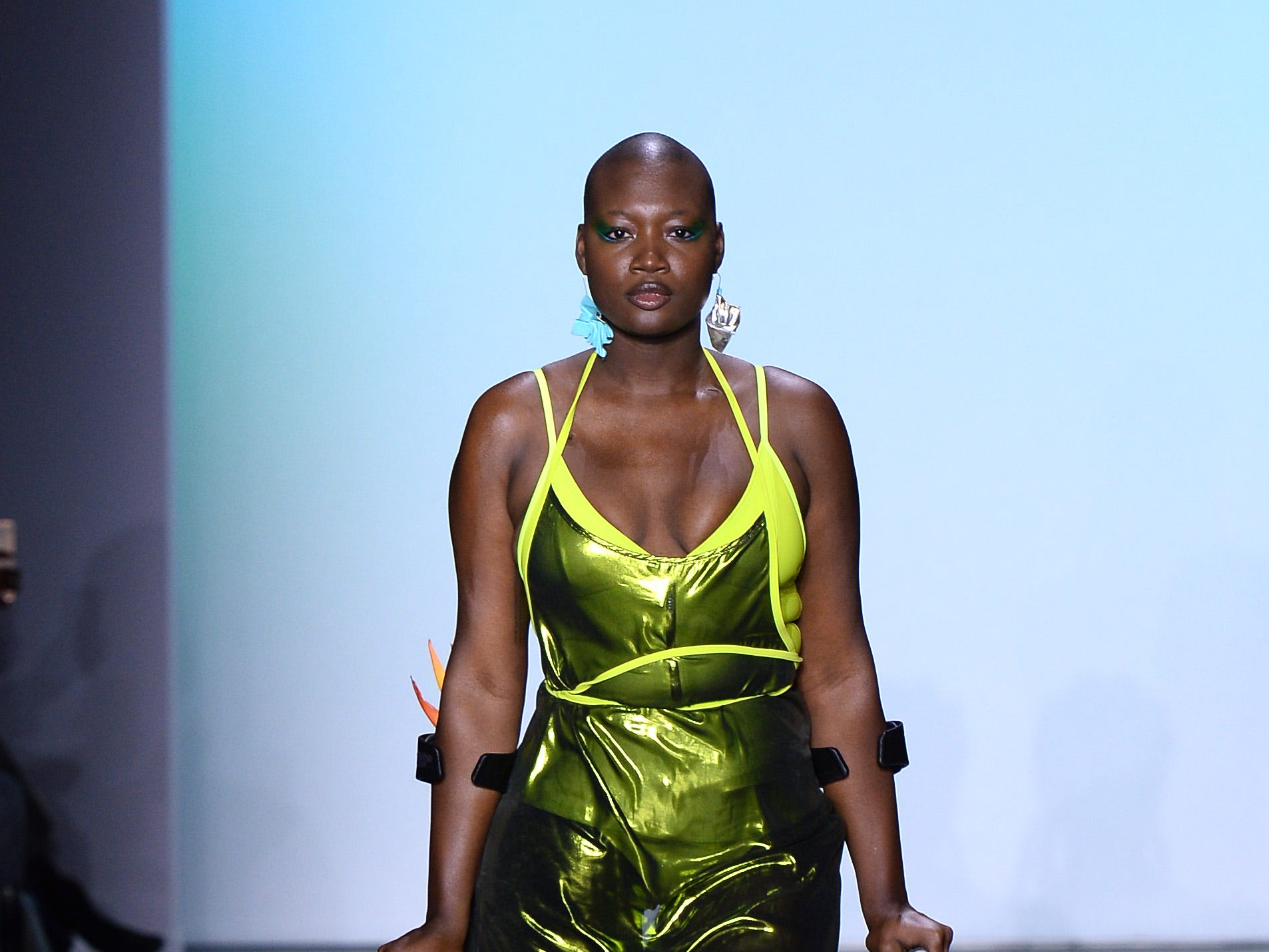 NEW YORK, NY - FEBRUARY 08:  A model walks the runway for the Chromat fashion show during New York Fashion Week: The Shows at Industria Studios on February 8, 2019 in New York City.  (Photo by Noam Galai/Getty Images for NYFW: The Shows) ORG XMIT: 775289385 ORIG FILE ID: 1095891378