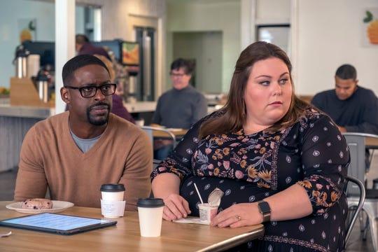 "Sterling K. Brown as Randall, Chrissy Metz as Kate on ""This Is Us."""
