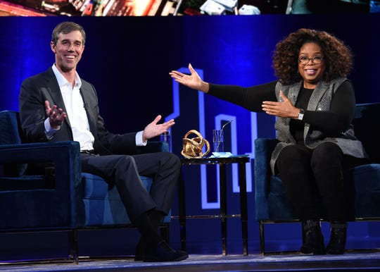 Beto O'Rourke and Oprah Winfrey speak onstage at Oprah's SuperSoul Conversations at PlayStation Theater on February 05, 2019 in New York City.