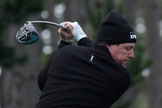 Phil Mickelson hits his tee shot on the 11th hole during the second round of the AT&T Pebble Beach Pro-Am golf tournament at Spyglass Hill Golf Course.