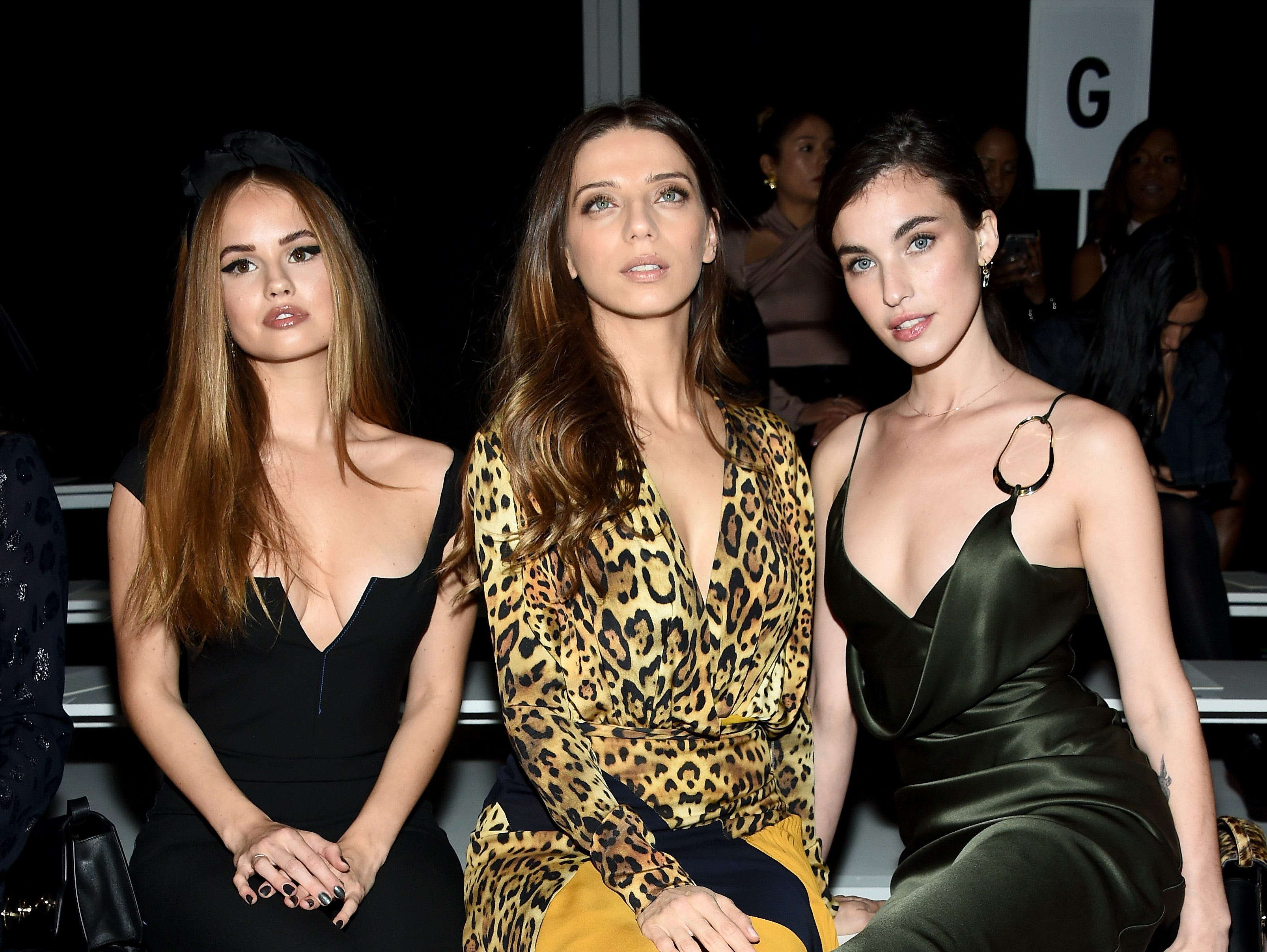 NEW YORK, NY - FEBRUARY 08:  Debby Ryan, Angela Sarafyan and Rainey Qualley attend the Cushnie front row during New York Fashion Week: The Shows at Gallery I at Spring Studios on February 8, 2019 in New York City.  (Photo by Dimitrios Kambouris/Getty Images for NYFW: The Shows) ORG XMIT: 775291341 ORIG FILE ID: 1095775310