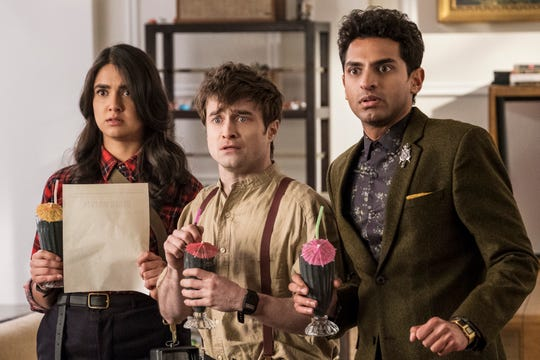 "Geraldine Viswanathan as Eliza, Daniel Radcliffe as Craig and Karan Soni as Sanjay on ""Miracle Workers."""