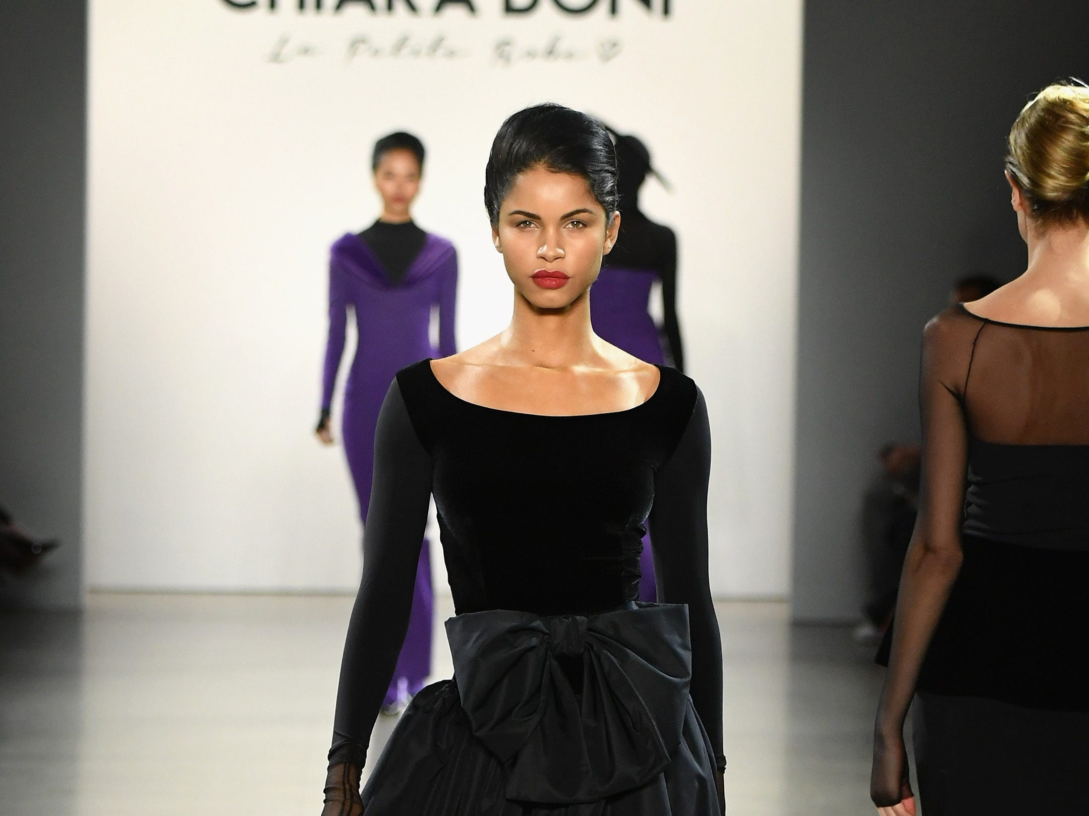 NEW YORK, NY - FEBRUARY 08:  A model walks the runway for the Chiara Boni La Petite Robe fashion show during New York Fashion Week: The Shows at Gallery II at Spring Studios on February 8, 2019 in New York City.  (Photo by Mike Coppola/Getty Images for NYFW: The Shows) ORG XMIT: 775289382 ORIG FILE ID: 1095819980
