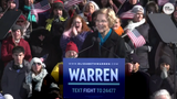 At her rally Lawrence, Massachusetts, the Democratic senator officially announced her bid for president and promised not to take any money from super PAC's or lobbyists during her campaign.