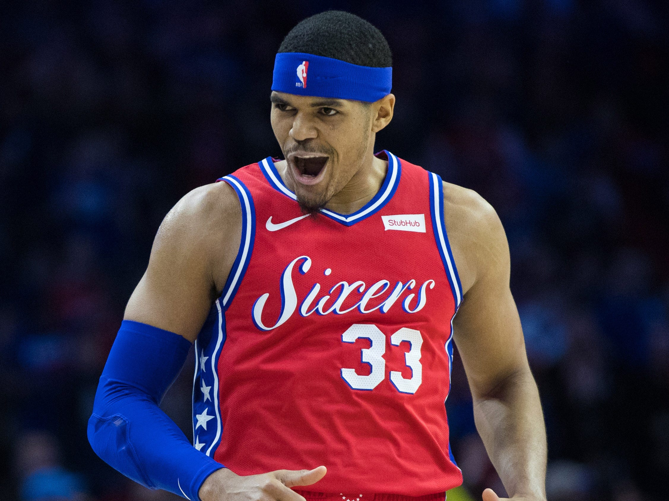Feb. 8: Philadelphia 76ers forward Tobias Harris celebrates after a score against the Denver Nuggets during the first quarter at Wells Fargo Center.