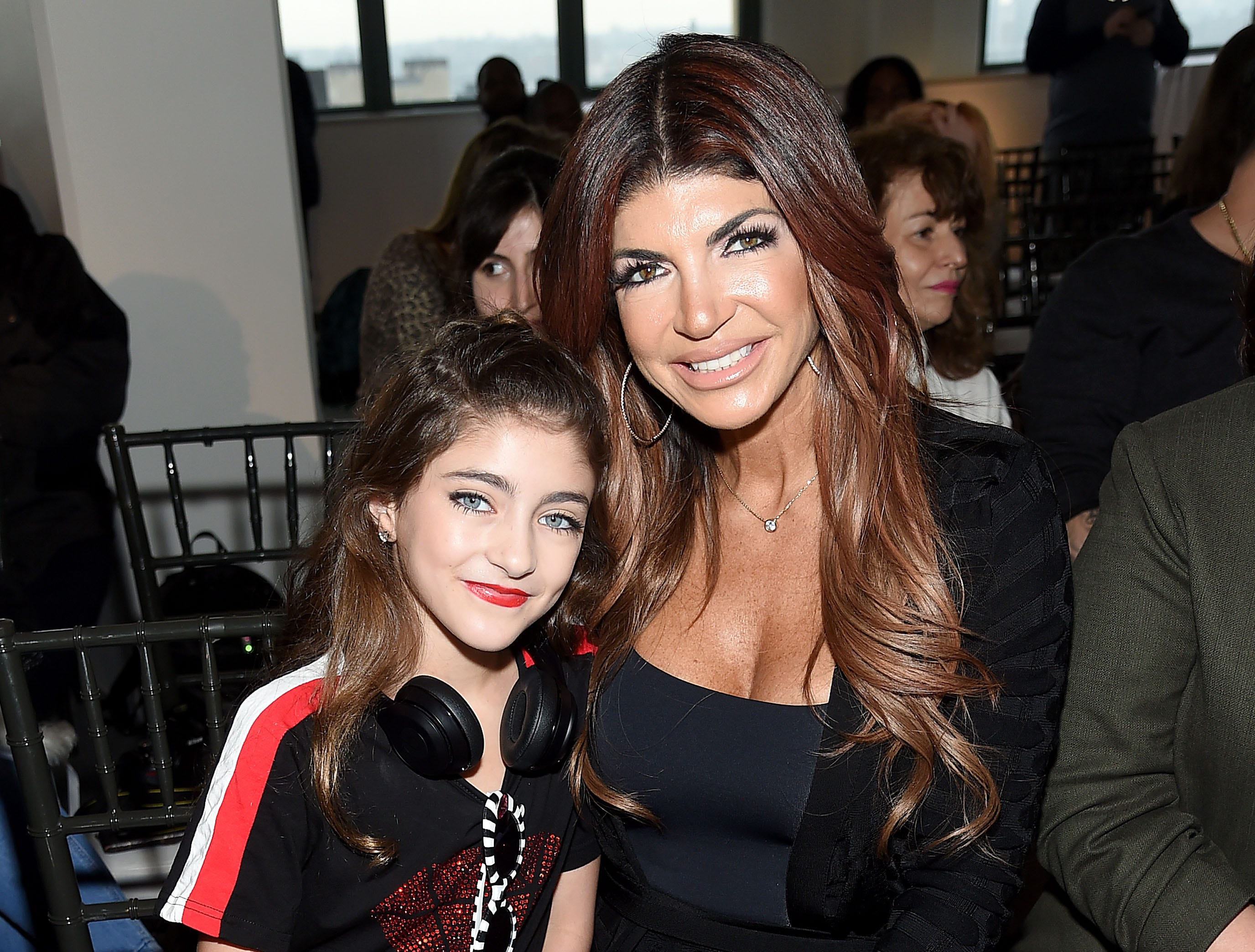 NEW YORK, NEW YORK - FEBRUARY 08: Audriana Giudice and Teresa Giudice attend the Cosmopolitan NYFW fashion show during New York Fashion Week at Tribeca 360 on February 08, 2019 in New York City. (Photo by Jamie McCarthy/Getty Images) ORG XMIT: 775293464 ORIG FILE ID: 1128283487