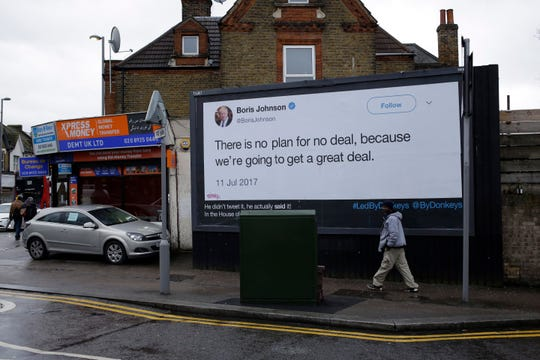 A billboard is displayed in north London on Feb. eight, 2019, as fragment of the