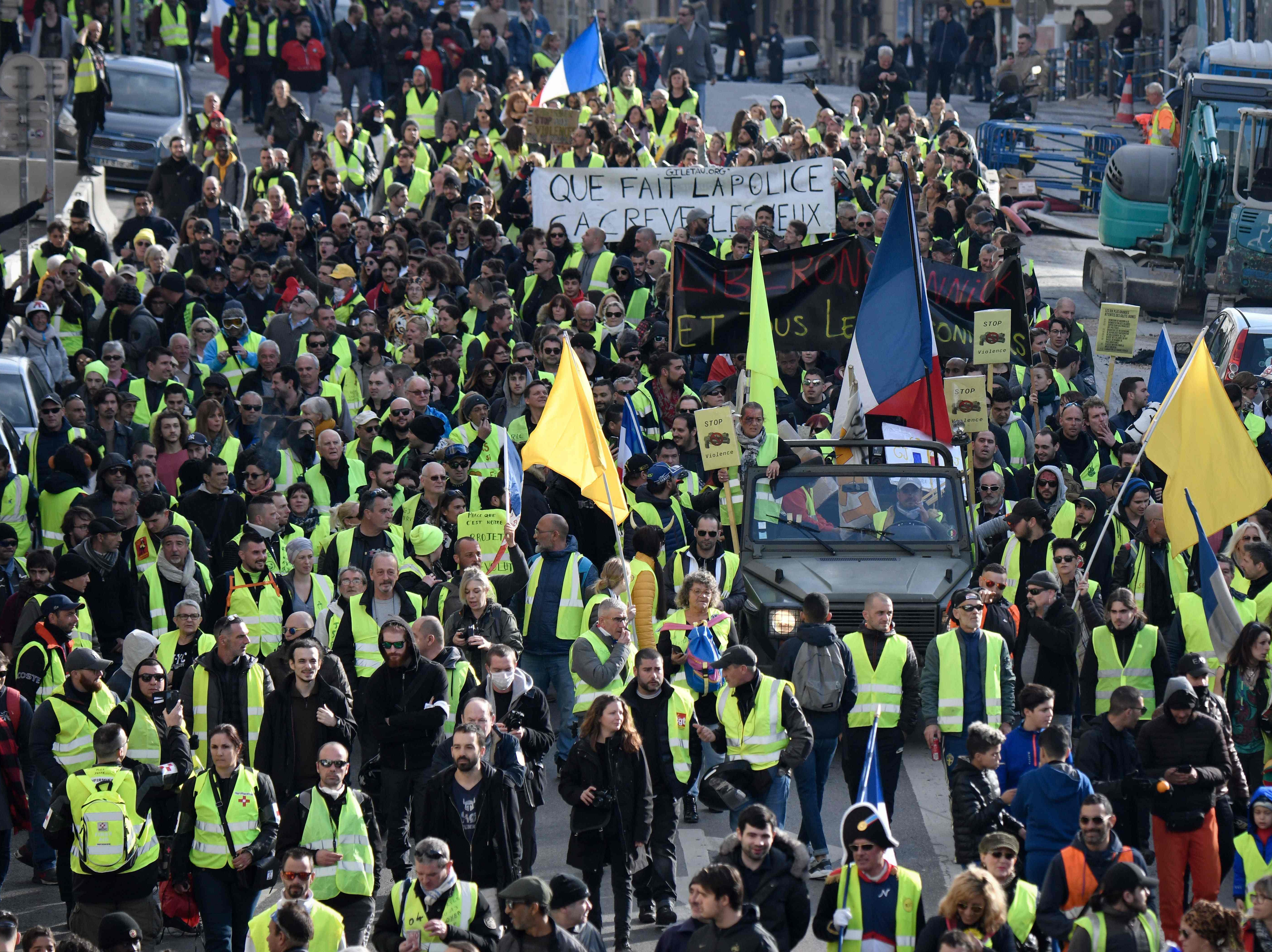 Yellow Vest (Gilets Jaunes) protesters rally in Marseille, southern France, on Feb. 9, 2019, as they take the streets for the 13th consecutive Saturday.