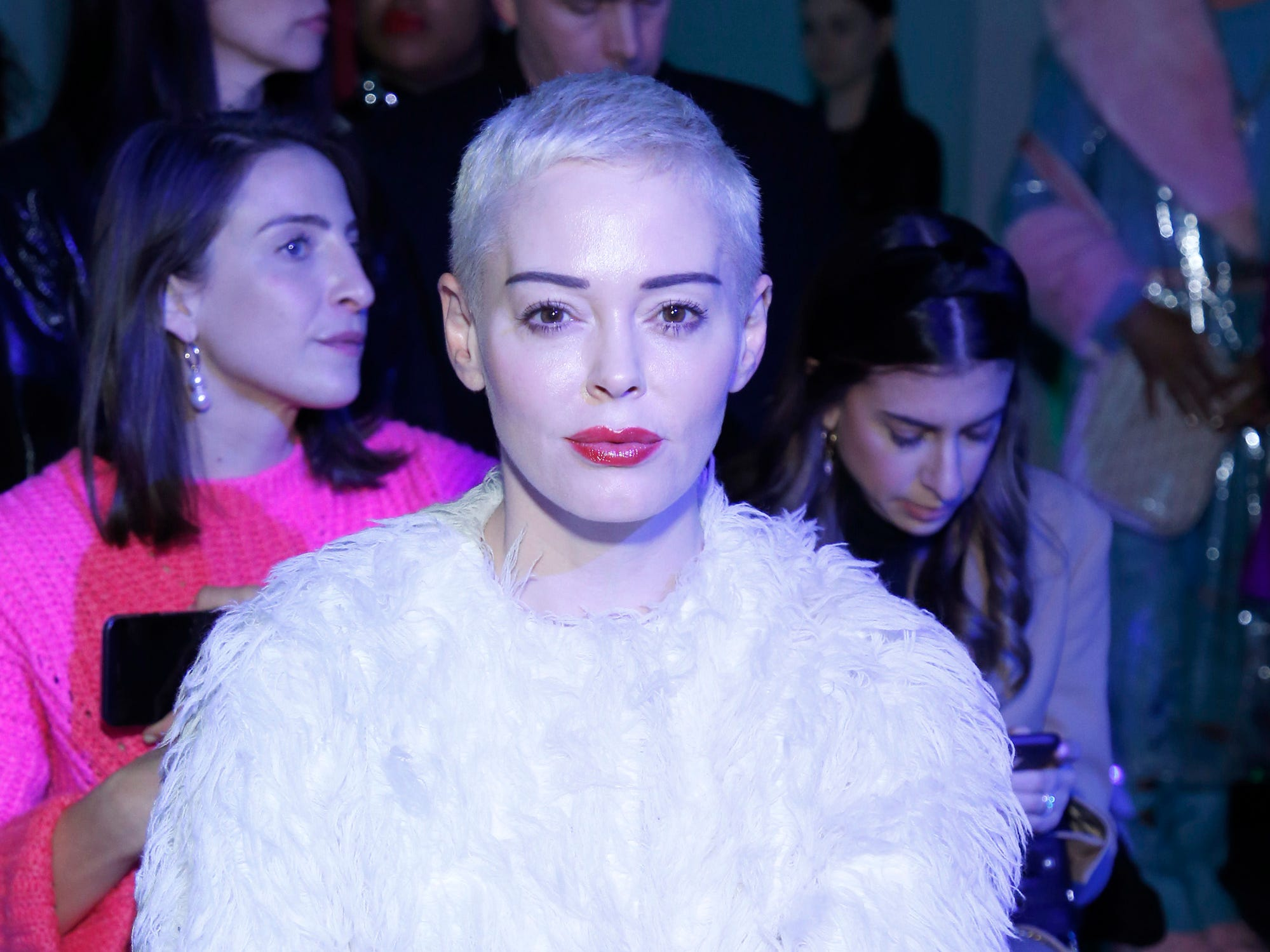 NEW YORK, NY - FEBRUARY 08:  Actress Rose McGowan attends the Chromat front row during New York Fashion Week: The Shows at Industria Studios on February 8, 2019 in New York City.  (Photo by John Lamparski/Getty Images for NYFW: The Shows) ORG XMIT: 775289383 ORIG FILE ID: 1095922524