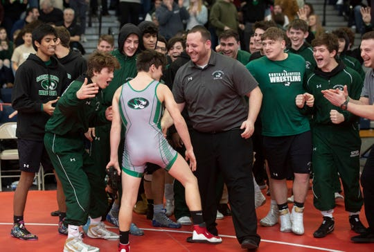 South Plainfield's Jacob Delvechhio after his pin closed out the match. South Plainfield defeats  High Point 46-26 in Group II Wrestling Team Championship.