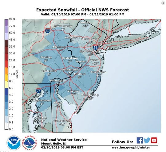 Monday's expected snowfall.