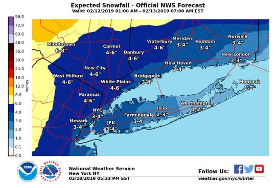 Weather predictions for New York and northern New Jersey