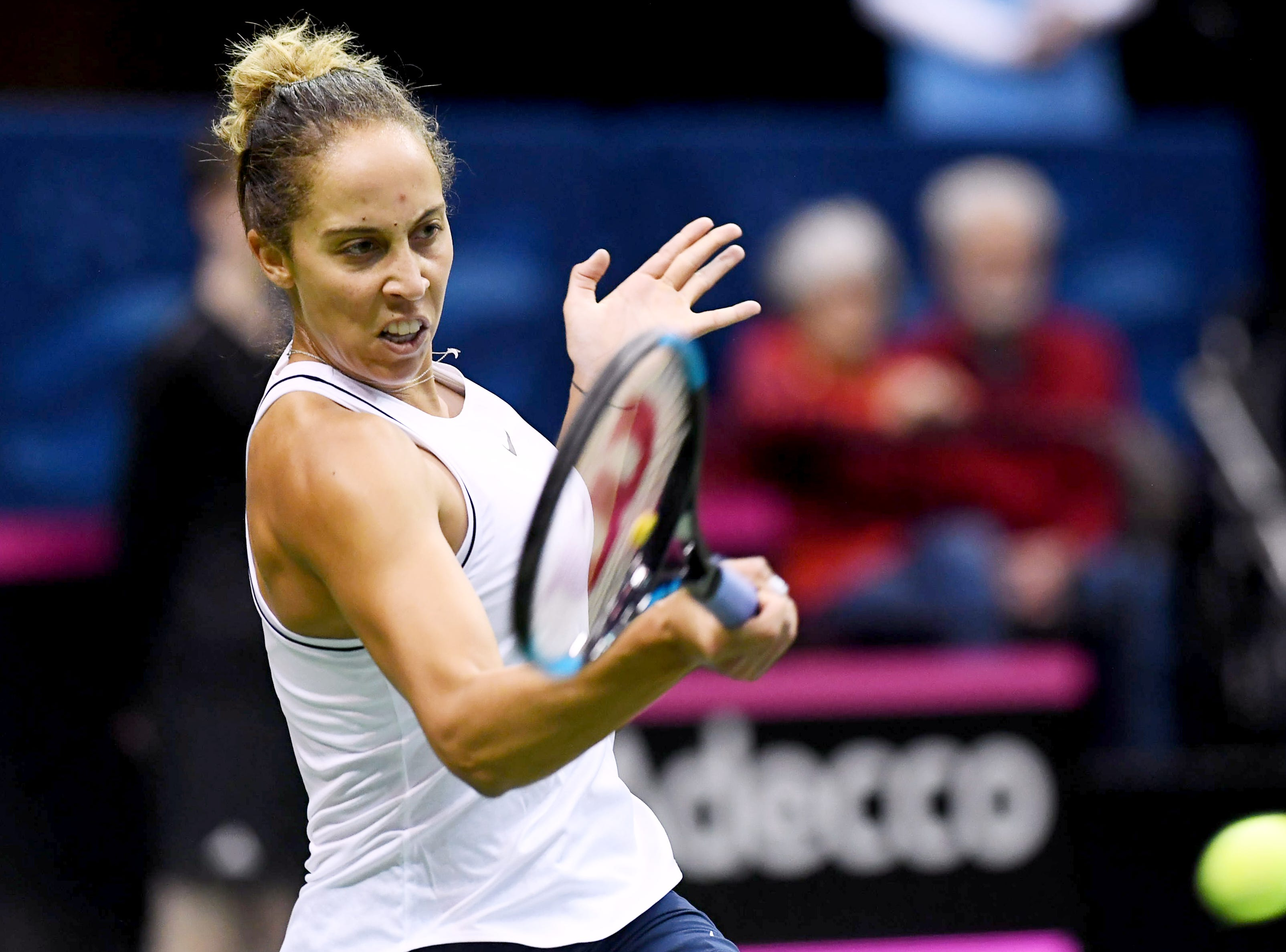 Madison Keys returns the ball in the Fed Cup match against Australia Feb. 9, 2019 at the US Cellular Center in Asheville.
