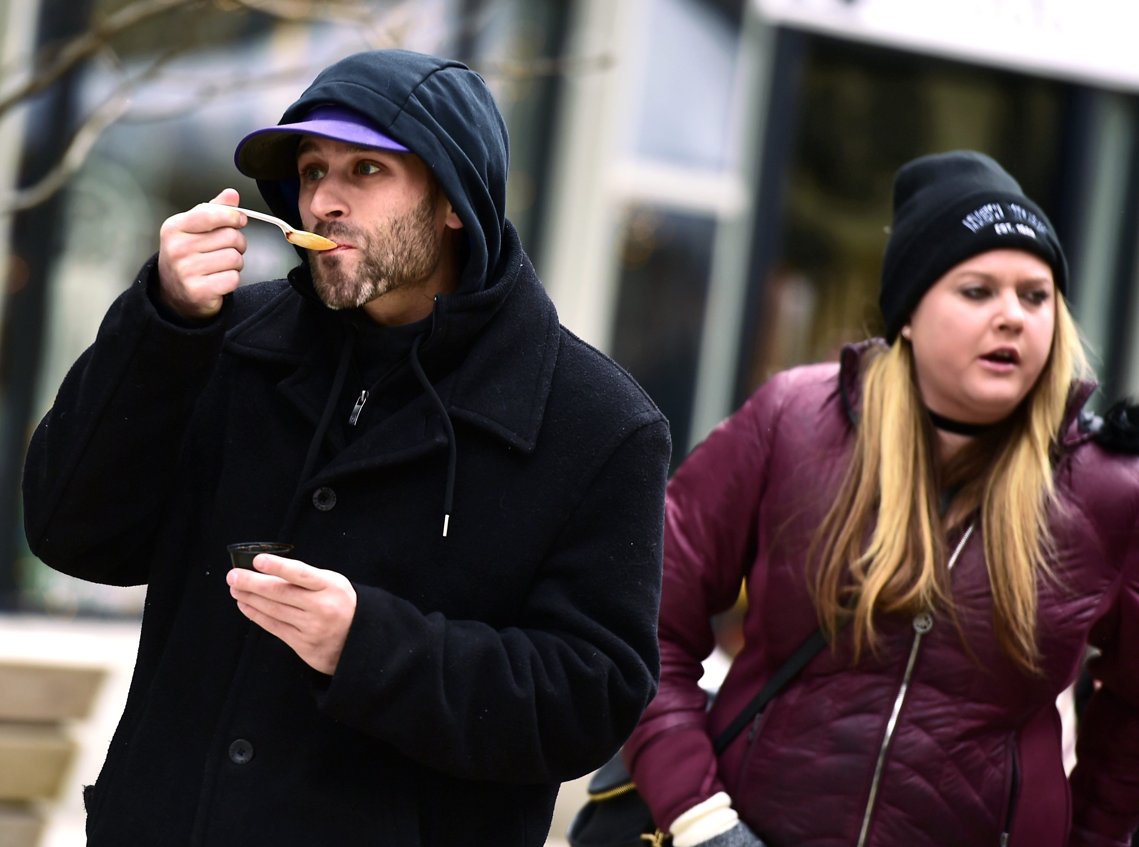 The 21st Annual Downtown Ithaca Chili Cook-off was held on the Commons on Saturday. The event featured unique meat, vegetarian and vegan chilis made by local restaurants. February 8, 2019.