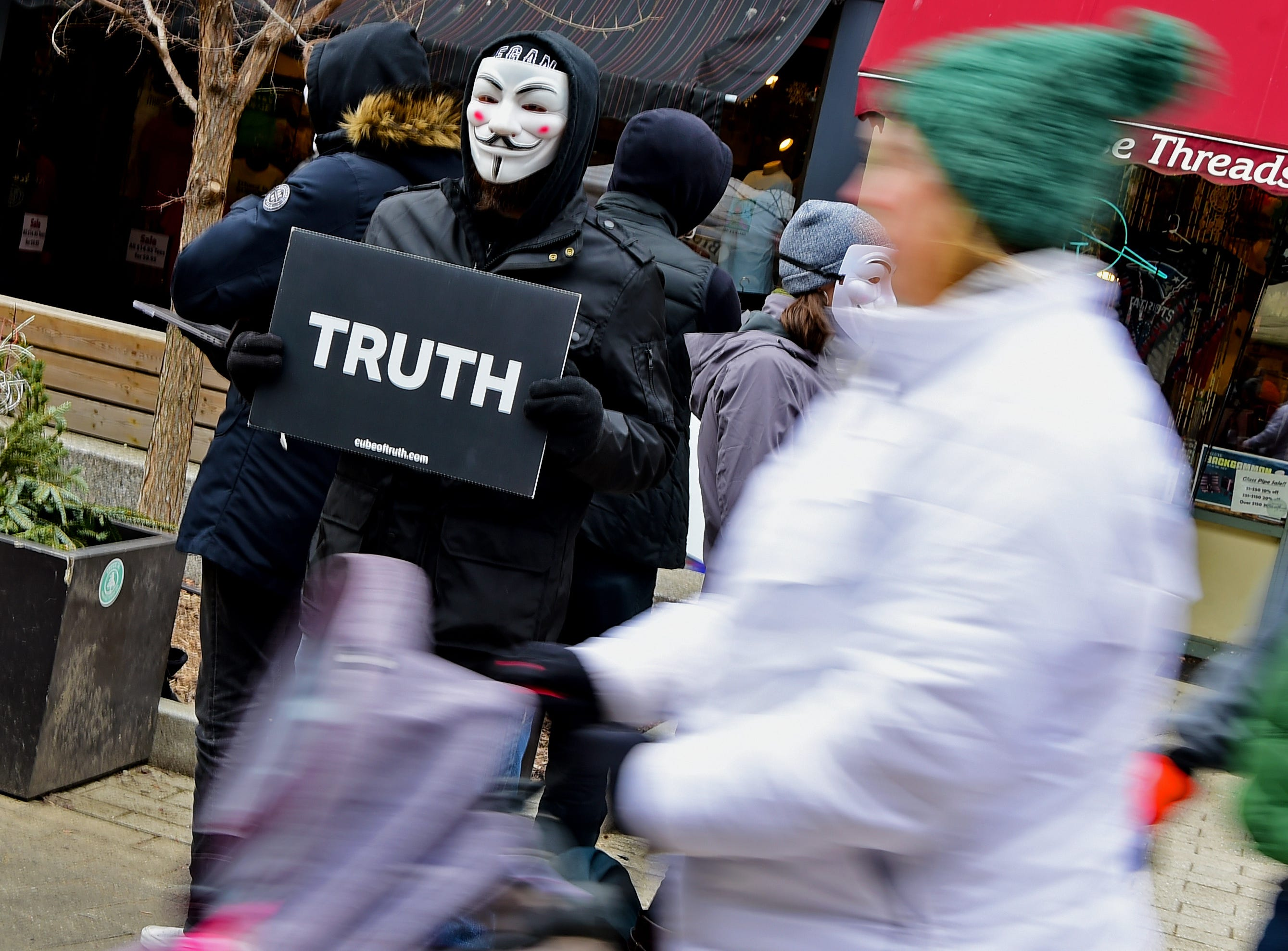 Protestors from Anonymous for the Voice, an animal rights group, during the Ithaca Chili Cook-off was on Saturday, February 8, 2019.