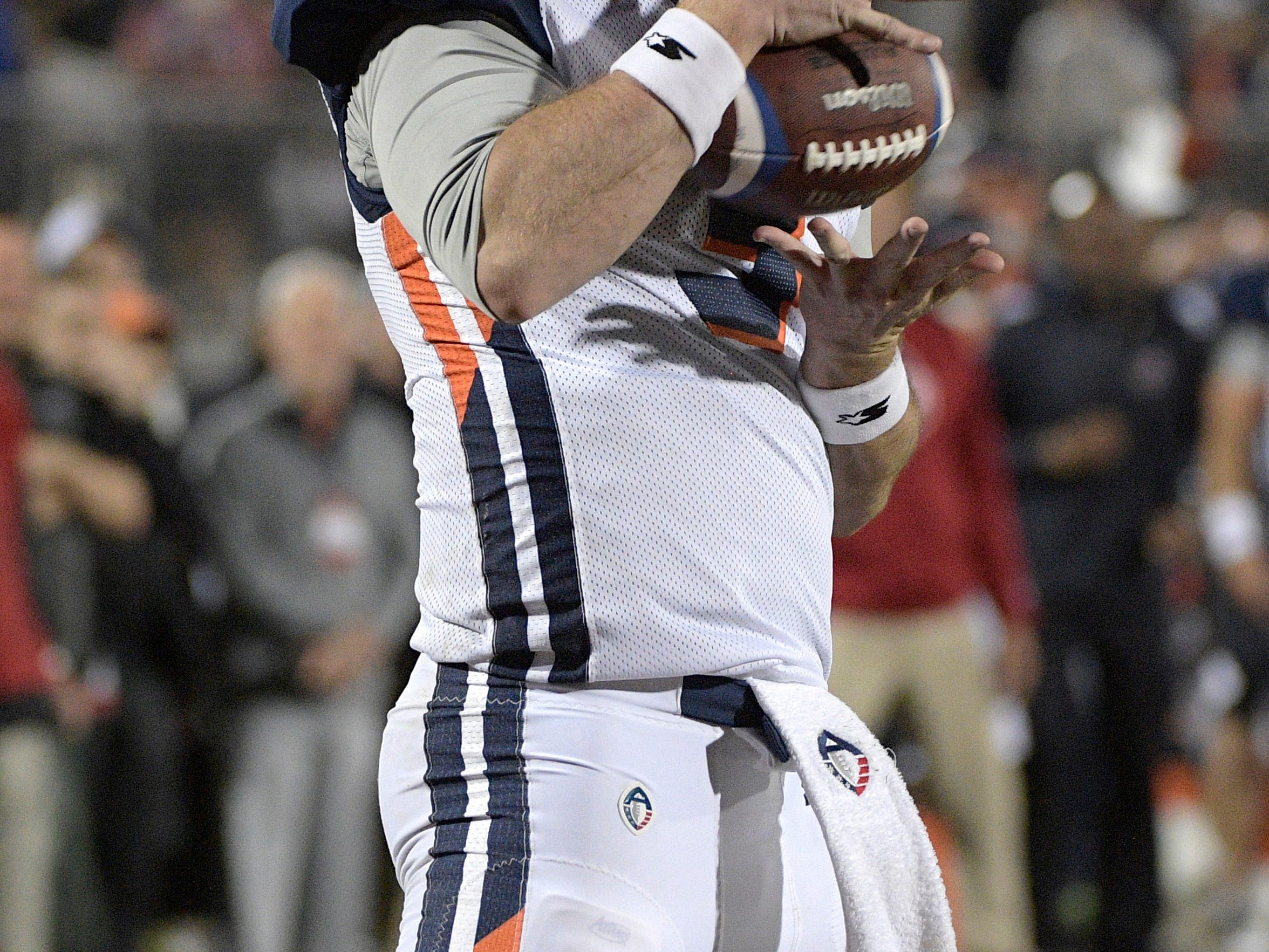 Orlando Apollos quarterback Garrett Gilbert catches a pass from receiver Jalin Marshall for a 5-yard touchdown during the first half of an Alliance of American Football game against the Atlanta Legends on Saturday, Feb. 9, 2019, in Orlando, Fla. (AP Photo/Phelan M. Ebenhack)