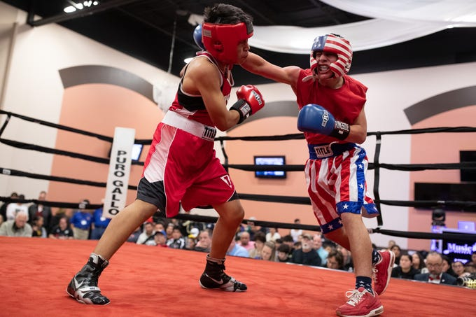 Cesar Reyes vs Patrick Cantu during the regional golden gloves tournament at the Valencia on Saturday, Feb. 9, 2019.