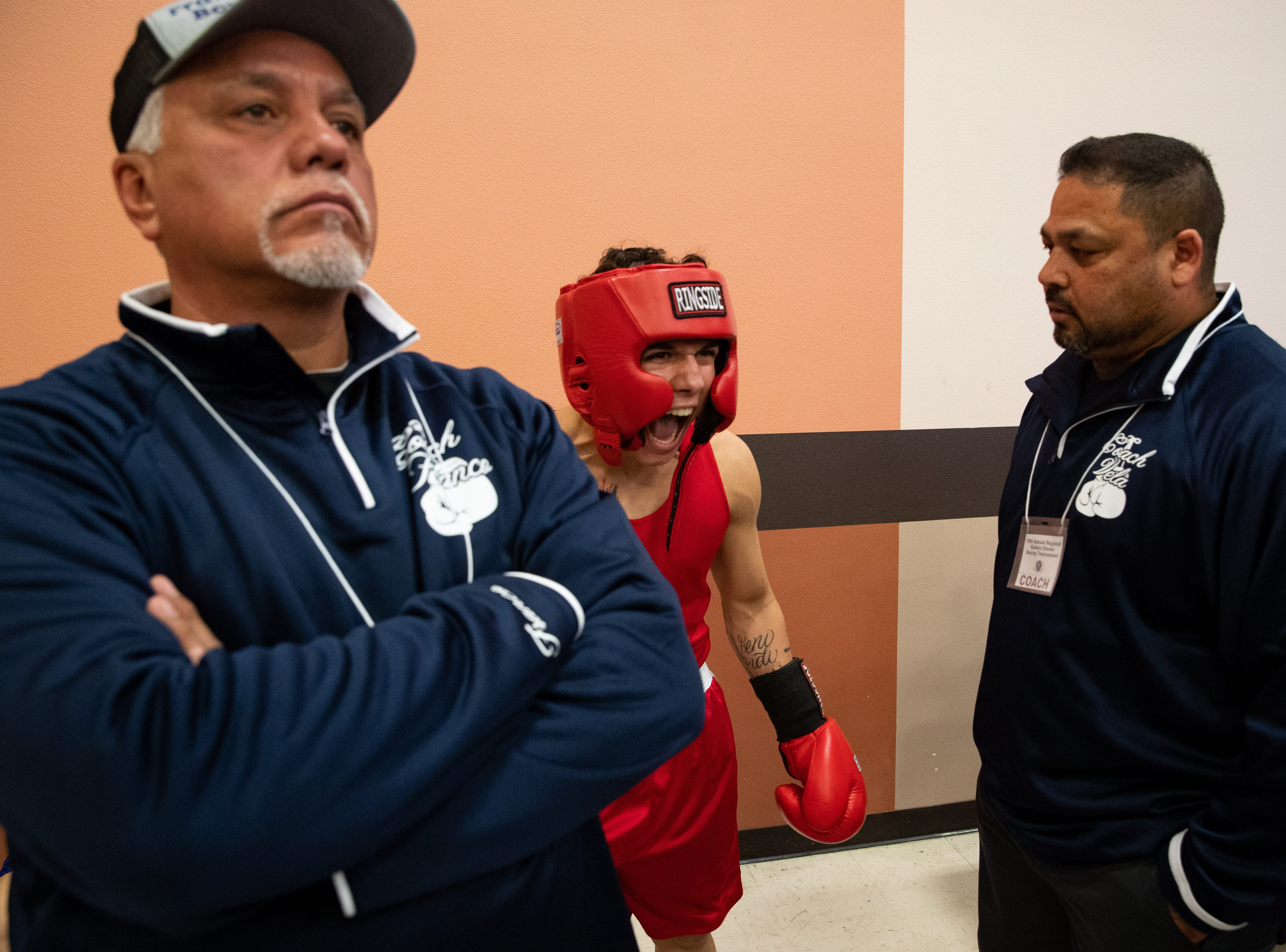 Boxers warm up during the regional golden gloves tournament at the Valencia on Saturday, Feb. 9, 2019.