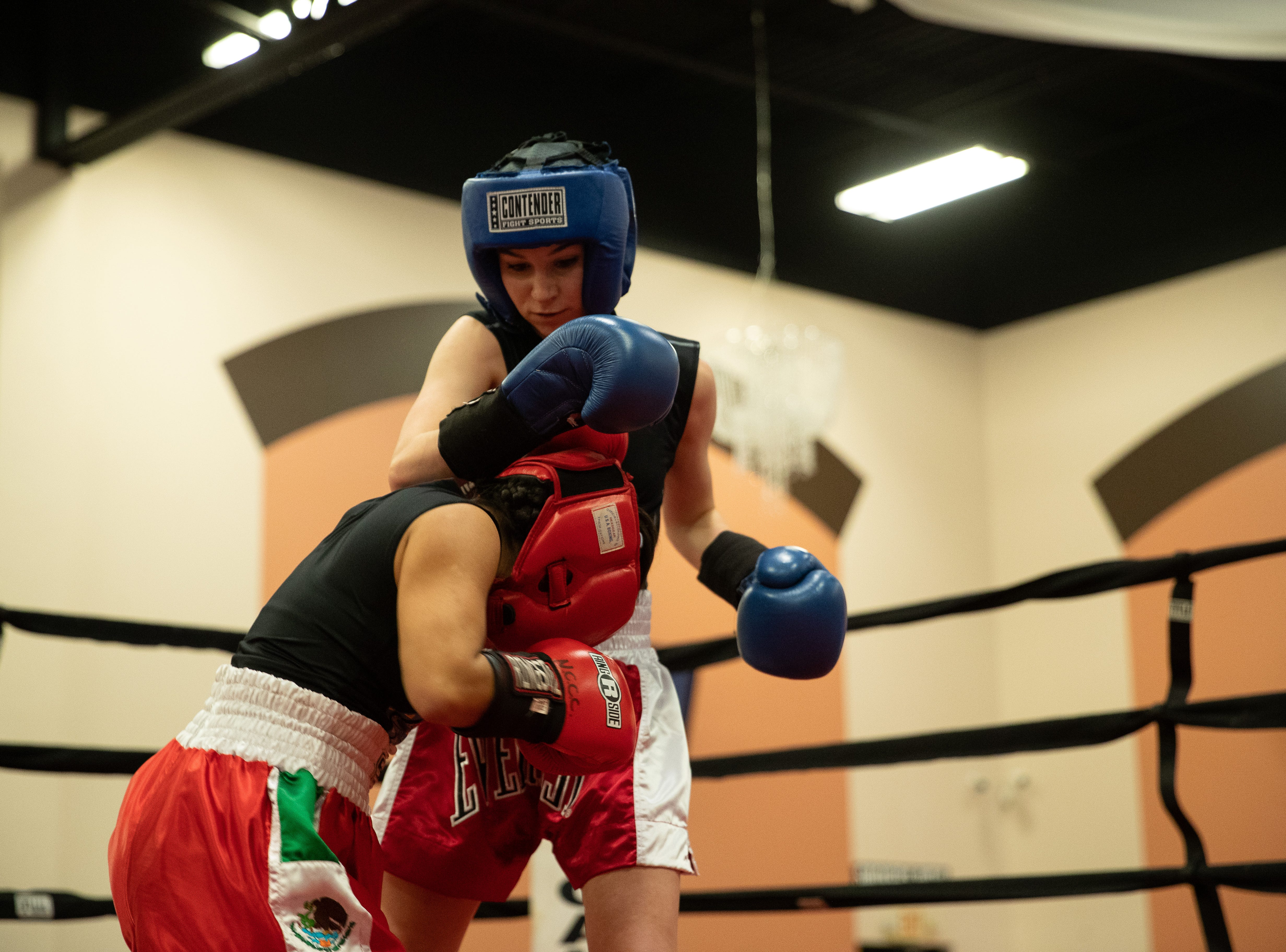 Zoey Rodriquez vs Braylee Fauth during the regional golden gloves tournament at the Valencia on Saturday, Feb. 9, 2019.